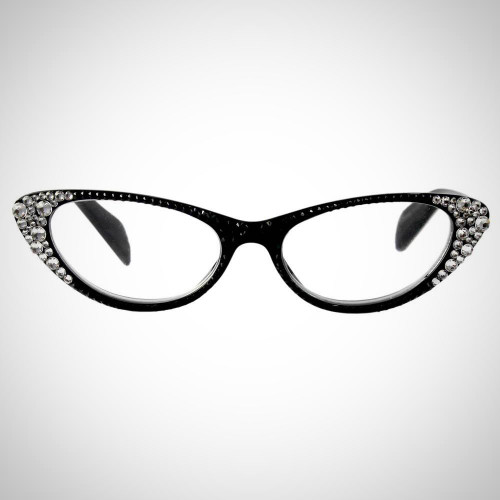 Women's Black Readers with Black and Clear Swarovski Crystals