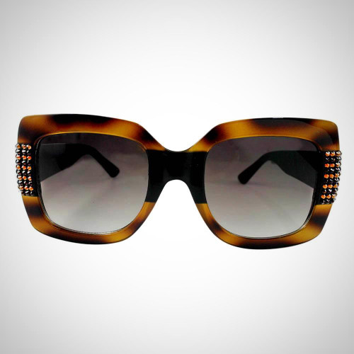 Women's Tortoise Shell Sunglasses with Swarovski Crystals