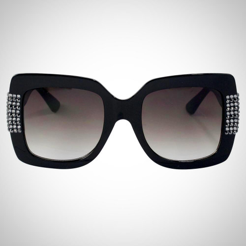 Women's Black Sunglasses with Swarovski Crystals