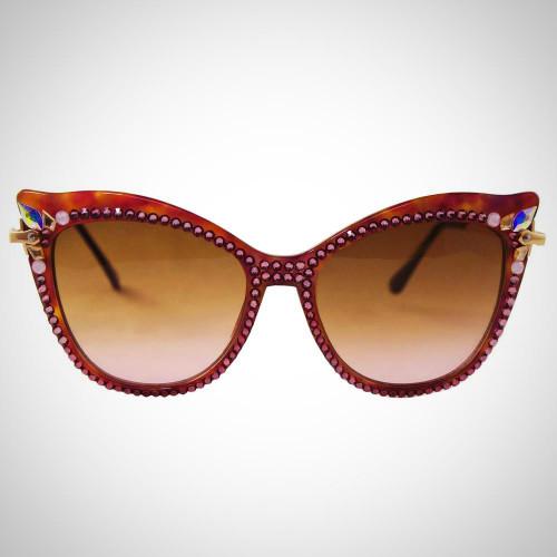Women's Lavender Sunglasses with Pink Swarovski Crystals