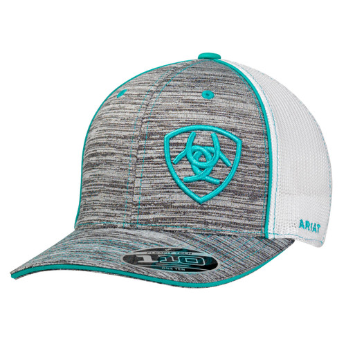 Men's Grey Heather Flex Fit Ball Cap with Turquoise Accents