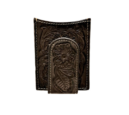 Men's Dark Brown Floral Embossed Magnetic Money Clip