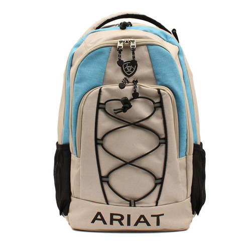 Lightweight Grey and Blue Canvas Backpack