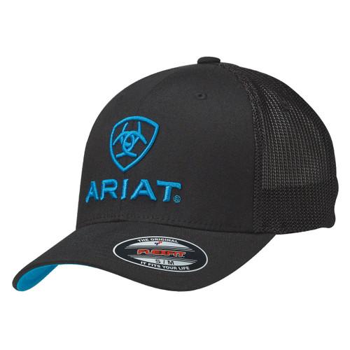 Men's Black Flex Fit Ball Cap with Blue Accents
