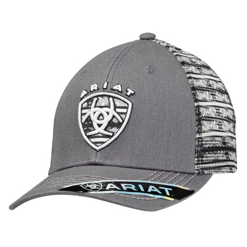 Men's Dark Grey Ball Cap with Printed Mesh Back