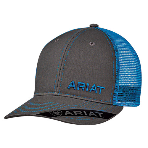 Men's Grey Ball Cap with Blue Accents