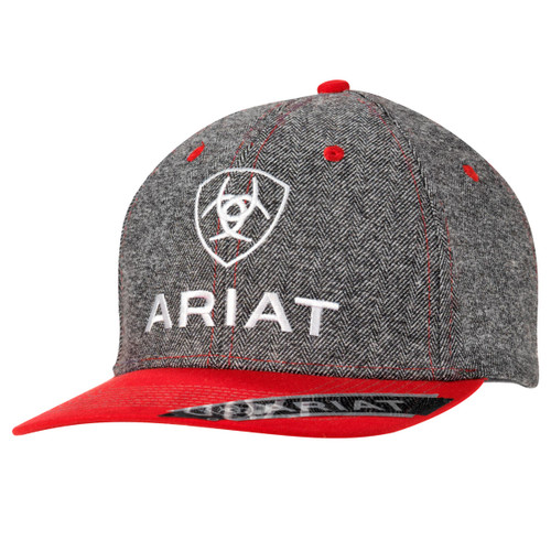 Men's Grey and Red Ball Cap