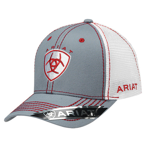 Men's Grey Ball Cap with Red Accents