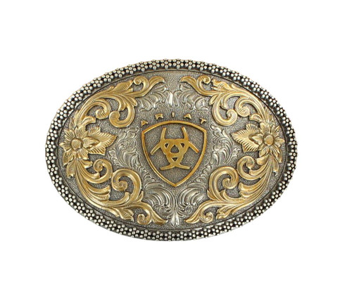 Men's Antique Silver and Gold Oval Belt Buckle
