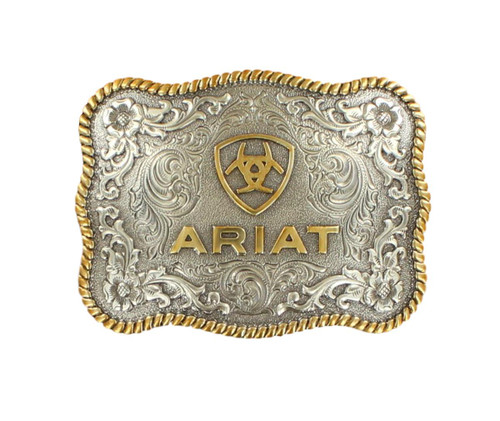 Men's Antique Silver and Gold Scalloped Belt Buckle