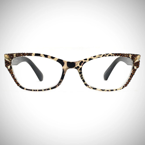 Women's Swarovski Crystal Leopard Readers