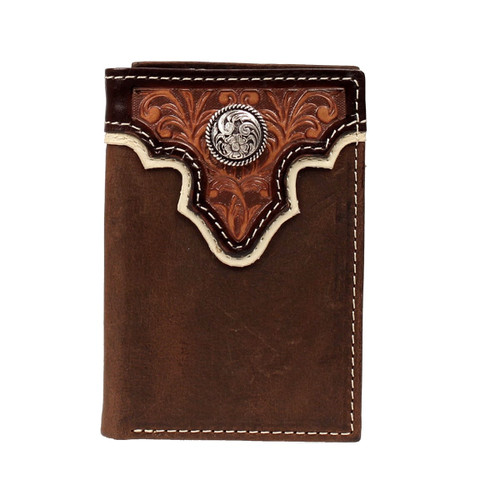 Men's Dark Brown Trifold Leather Wallet with Tan Overlay