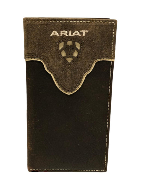 Men's Dark Brown Leather Rodeo Wallet with Cut Out Logo