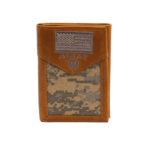 Men's Digital Camo Trifold Leather Wallet