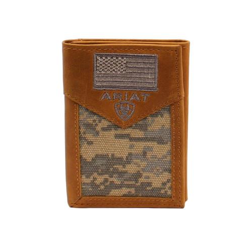 Men's Digital Camo Trifold Leather Wallet