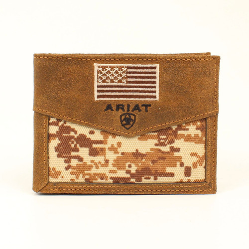 Men's Brown Digital Camo Bifold Passcase Wallet