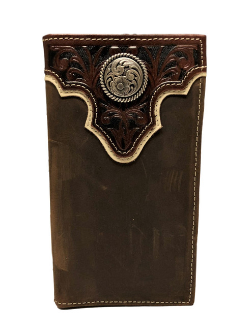 Men's Distressed Dark Brown Leather Rodeo Wallet with Overlay