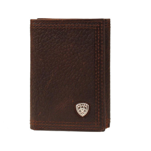 Men's Dark Brown Rowdy Leather Trifold Wallet