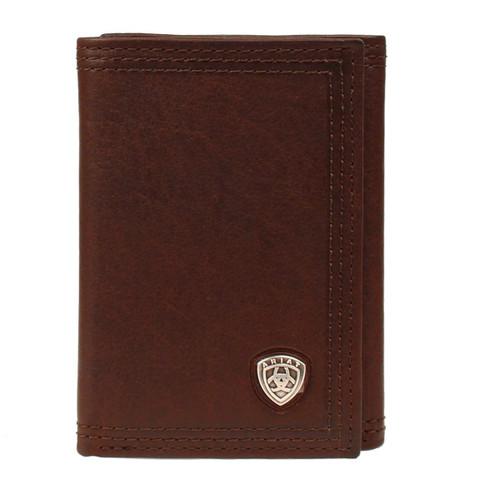 Men's Dark Brown Oil Leather Trifold Wallet