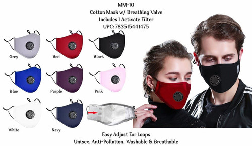 Adult 2-Layer Cotton Cloth Face Mask with Breathing Valve