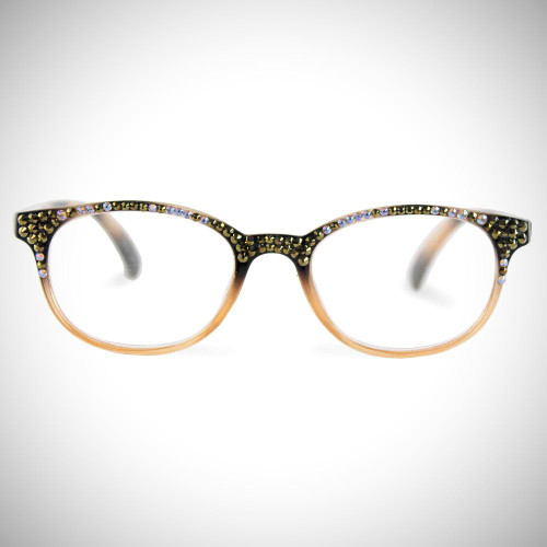 Women's Beige Swarovski Crystal Readers