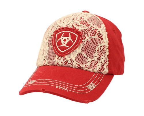 Women's Red Distressed Light Weight Lace Ball Cap