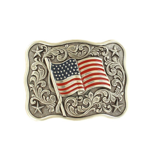 Men's Rectangular Antique Silver Belt Buckle with USA Flag