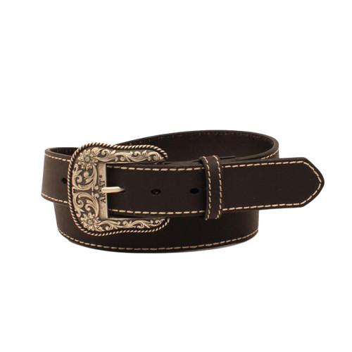 Women's Black Western Belt with Contrast Stitching