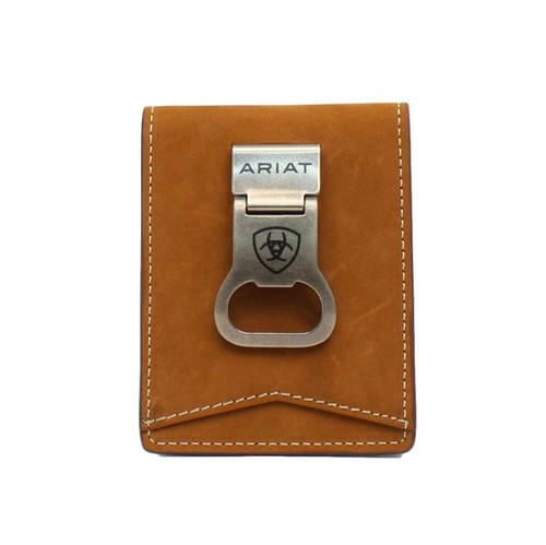 Men's Brown Bifold Money Clip Wallet