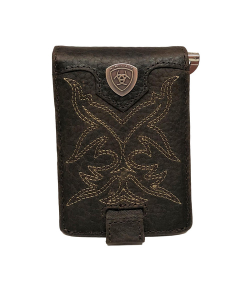Men's Dark Brown Bifold Boot Stitch Money Clip Wallet