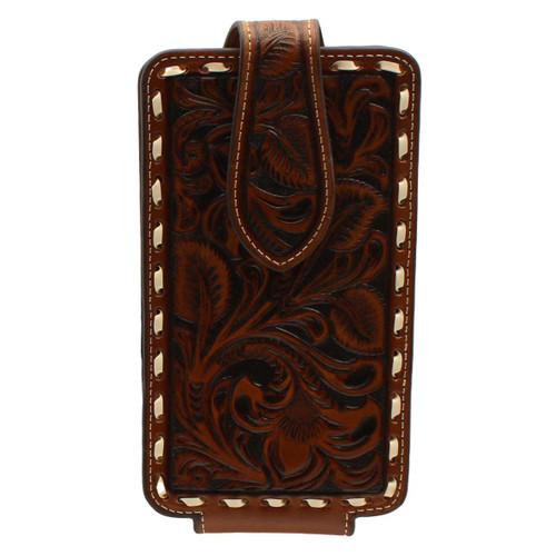 Large Brown Leather Floral Embossed Cell Phone Case
