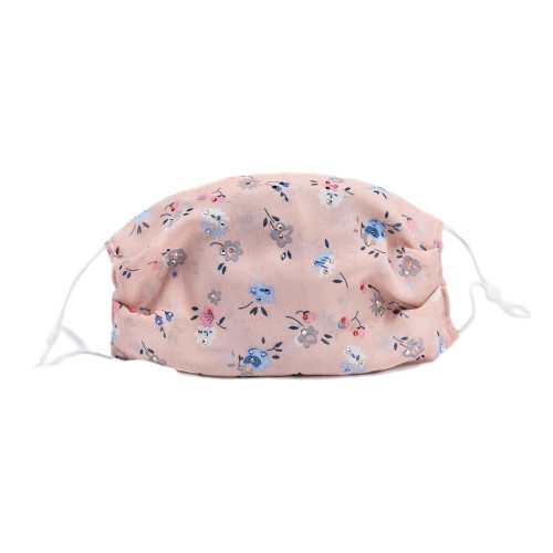 Pink Silk Floral Face Mask w/ Swarovski Crystals