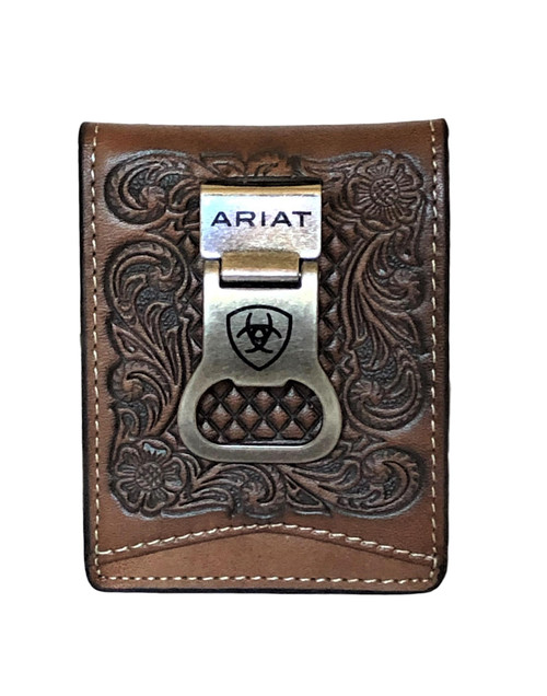 Men's Brown Basketweave Floral Embossed Bifold Money Clip Wallet