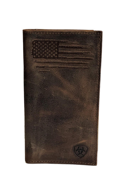 Men's Dark Brown Distressed Rodeo Wallet w/USA Flag