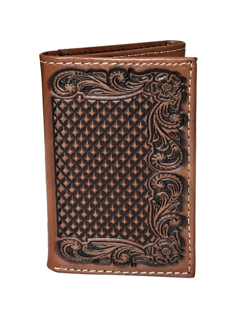 Men's Brown Basketweave Floral Embossed Leather Trifold Wallet