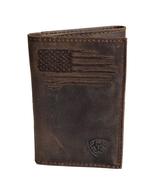 Men's Brown Distressed Leather Trifold Wallet w/ USA Flag