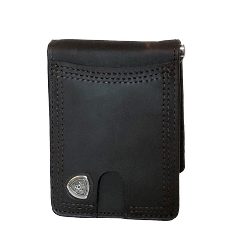 Men's Dark Brown Leather Card Case Money Clip