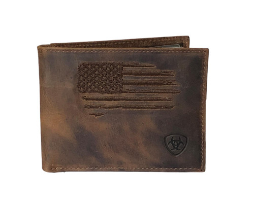 Men's Brown Distressed Leather Bifold Removable Passcase Wallet w/Flag