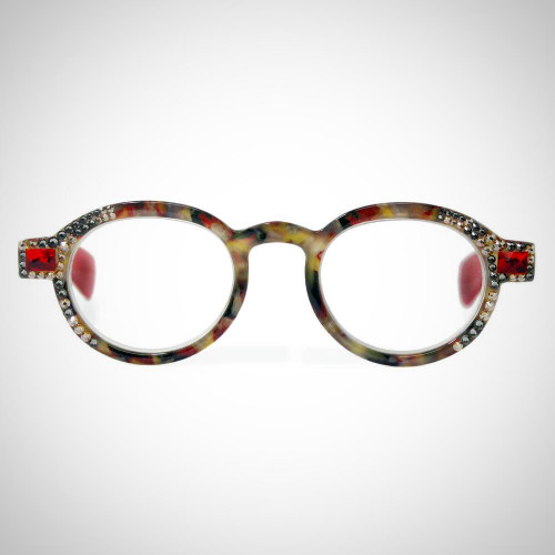Women's Greige and Red Readers with Swarovski Crystals