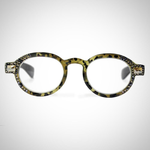 Women's Greige Readers with Hematite Swarovski Crystals