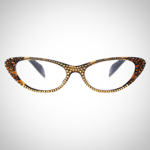 Women's Smoke Topaz Readers with Gold and Brown Swarovski Crystals