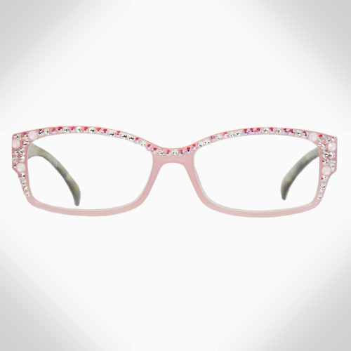 Women's Pink Readers with Pink and Clear Swarovski Crystals