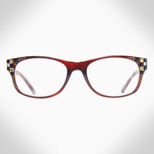 Women's Brown Readers with Checkerboard Swarovski Crystals