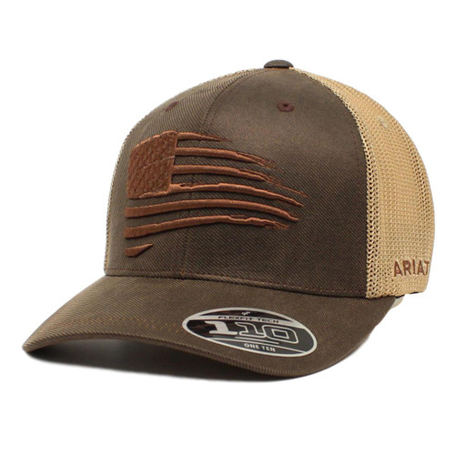 Men's Brown Oilskin Cap with Embroidered Flag Design