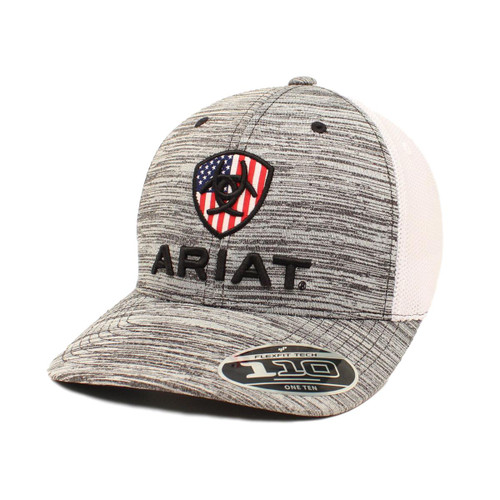 Men's Grey Heather Flex Fit Ball Cap with Flag