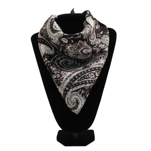 Black & White Paisley Print Silk Wild Rag Scarf