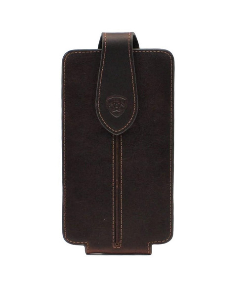 Large Dark Brown Leather Cell Phone Case w/Raised Center Strip