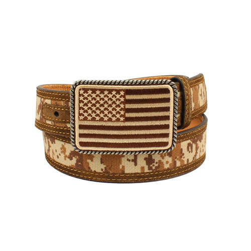 Men's Digital Camo Leather Belt with USA Flag Buckle