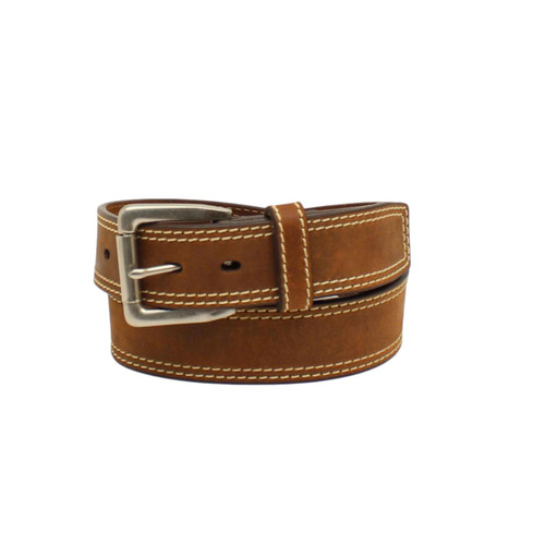 Men's Brown Leather Belt with Double Contrast Stitching