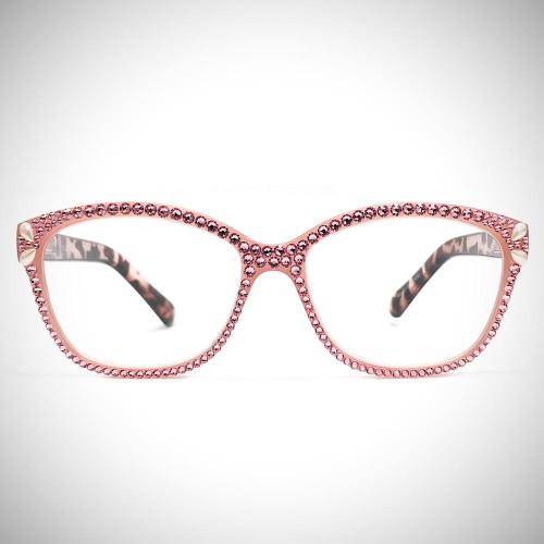 Women's Pink Swarovski Crystal Readers